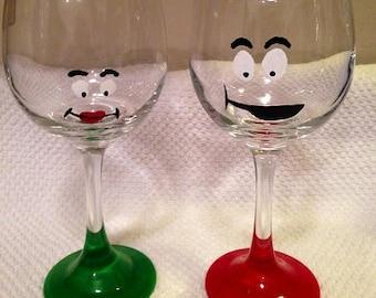 Elf Faces Wine Glasses