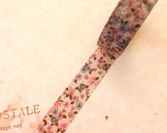 Japanese Washi Tape - Vintage Flower - White