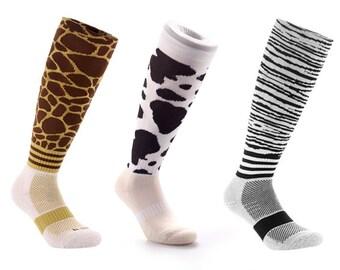 Samson® Funky Socks Knee High Animal Zebra Cow Giraffe Sport Football Rugby Soccer Hockey