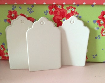 20 small white gift tags