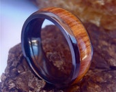Zirconium 8mm Domed Ring with 5mm Fiji Orange Wood Inlay and Polish Finish