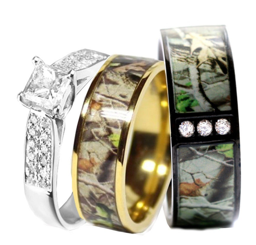 camo wedding ring set for him and her titanium stainless steel silver - Camo Wedding Rings For Him