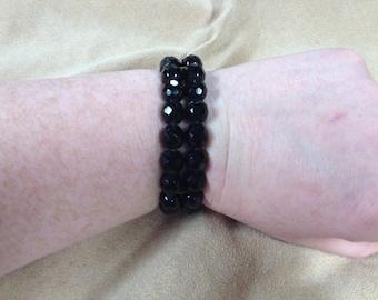 Vintage Black Beaded Cuff Bracelet, 2'' Diameter