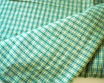 Green Homespun, Cotton Fabric, By The Piece, By The Yard, 4 Yards Total, Dressmaking Supply, Make Your Own Shirts