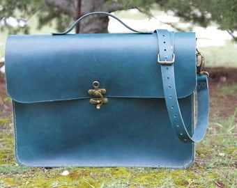 "Turquoise leather laptop bag 15"",macbook bag,leather briefcase"