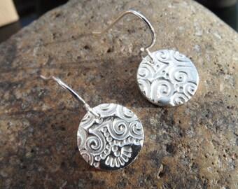 Fine Silver ethnic patterned circular drop earrings