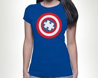 Captain Autism Puzzle Piece Shield T-shirt Tshirt Tee shirt Tee Autistic Support Educate Advocate Love Autism Awareness Month April  MB56