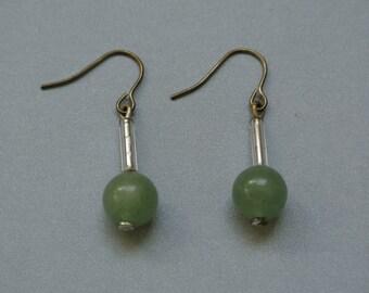 Vintage Handmade Jade Earrings