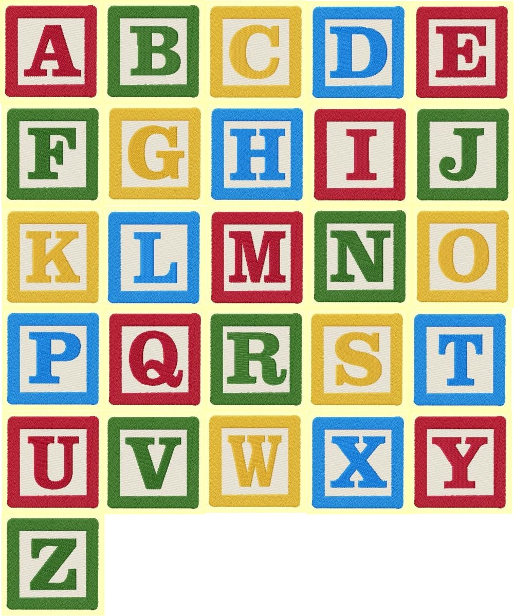 3 inch building block letters and numbers machine embroidery for Building letters
