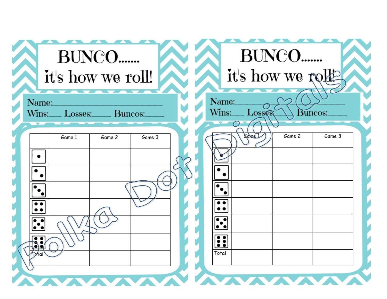 Bunco score sheet – Bunco Score Sheets Template
