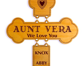 Mothers day Gift to Aunt from Niece,Nephew,Aunt Decorative Wall Cross, Custom Aunt Appreciation Sign, Special  Aunt Gift, Cross Wall Hanging