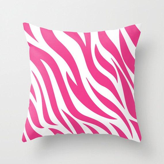 Pink Zebra Print Decorative Pillows : Zebra Animal Print Throw Pillow Pink Blue Black by PapelyPastel
