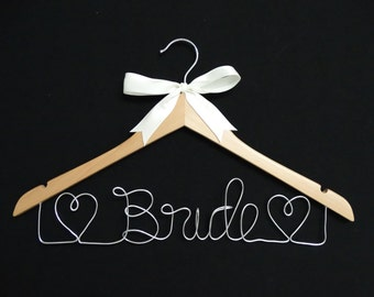 Wedding Hanger - Bride hanger with 2 hearts on either side