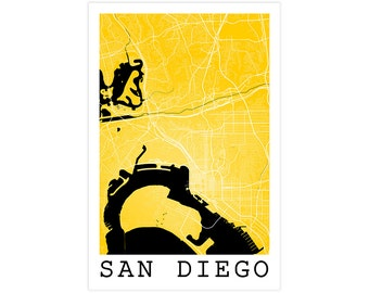San diego city map etsy for Modern home decor san diego