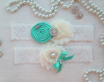wedding garter set, ivory/aqua green bridal garter set, aqua green rolled rosette and bow, ivory chiffon flower, pearl/rhinestone
