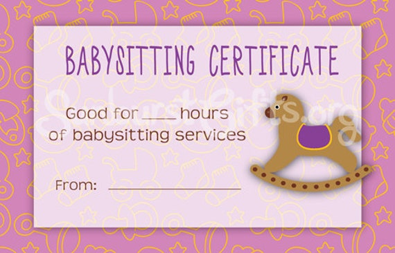 babysitting gift certificate template - items similar to printable babysitting gift certificate