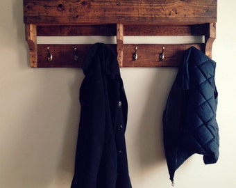 Wood Coat Rack Wall with Shelf / 6 hook / Wooden pallet