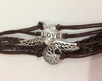 Love Infinity Brown Charm HUMAN Bracelet with Brown Leather Cord and Metal Clasp