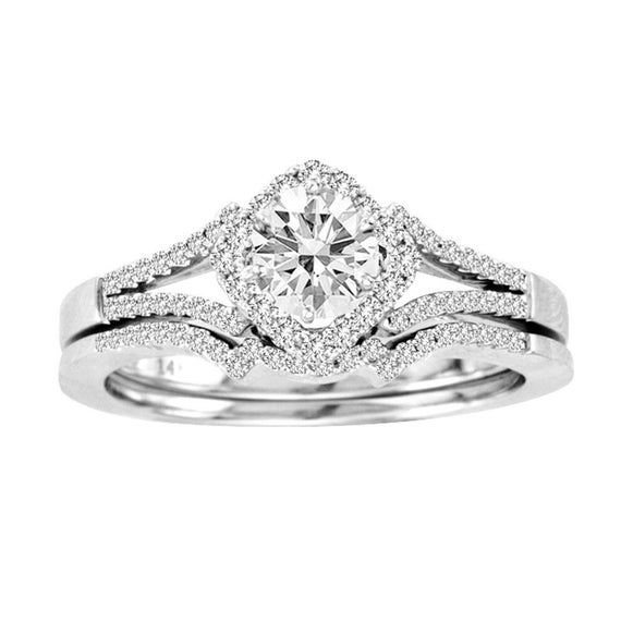 0 50Ct Square Halo Diamond 14k White Gold Bridal Engagement