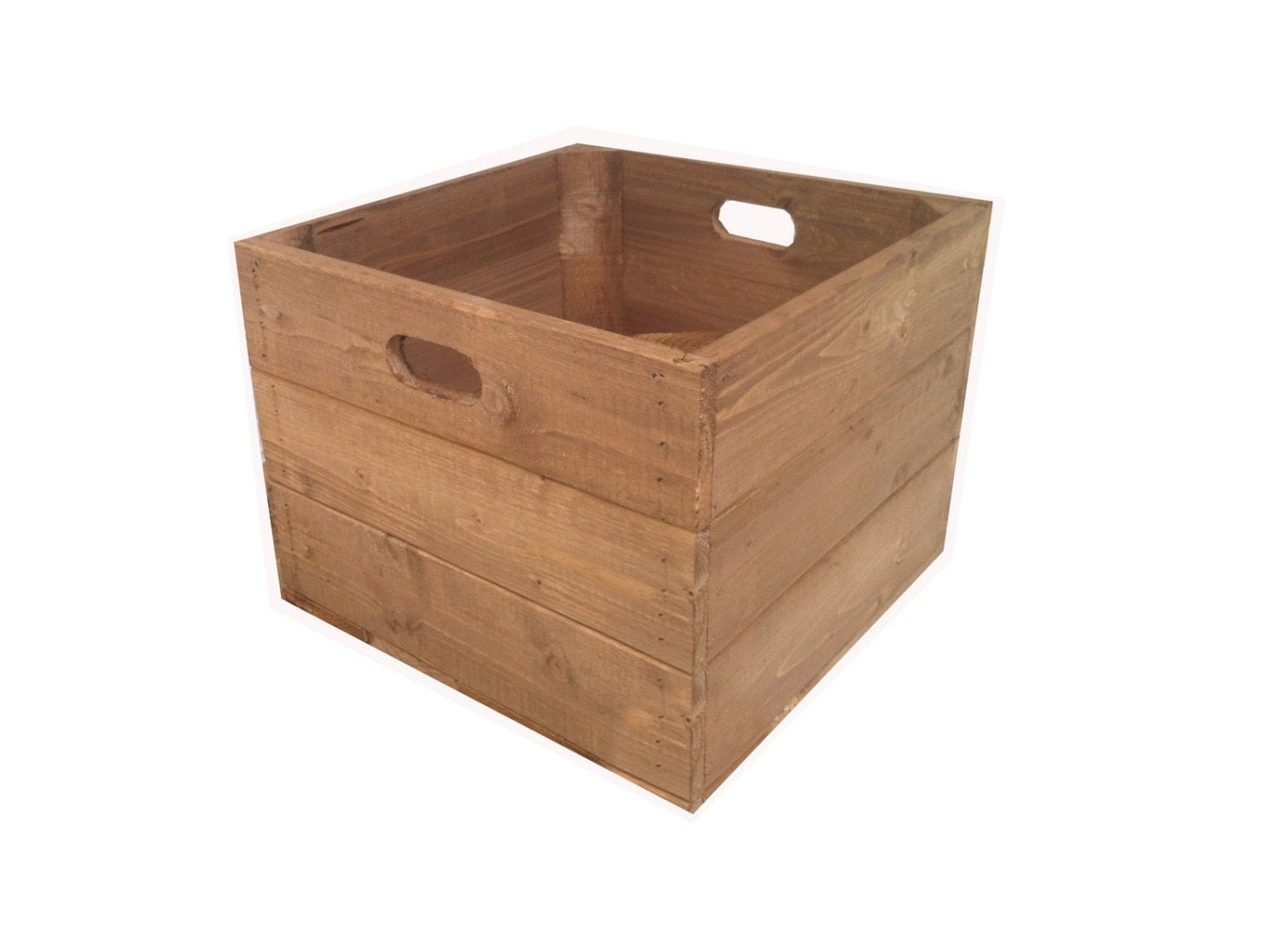 Rustic square wooden apple crate box for Used apple crates