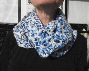 Blue white scarf.