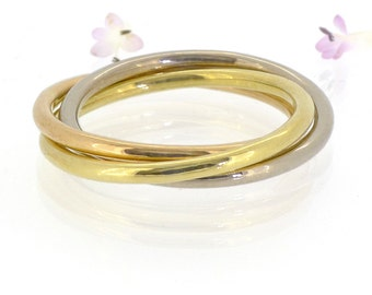 Trinity Ring in 18k Gold - Rolling Ring or Russian Wedding Ring - Eco Friendly - Handmade to Size