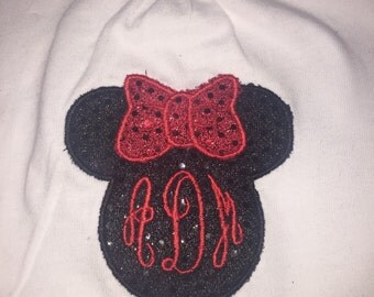 Minnie Mouse head with monogram