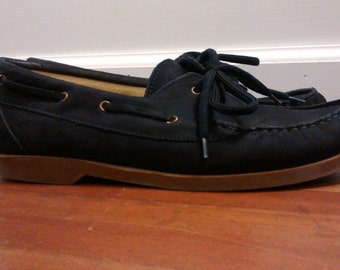 women's size 9 leather boat shoes hand made in Italy, mare, dark navy