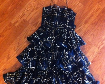 Stunning Lillie Rubin tiered lace and sequins party dress size 6