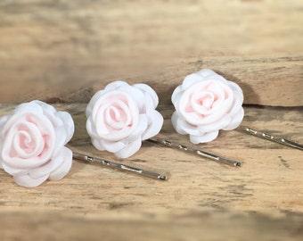 Pale Pink Rose Hair Pins
