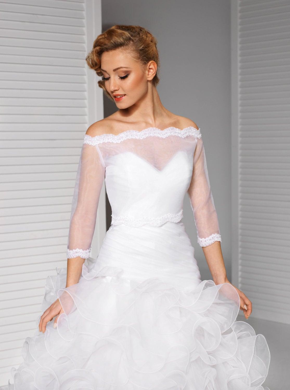 Off shoulder ivory white bolero bridal jacket for Off the shoulder wedding dress topper