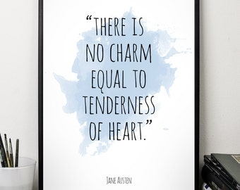 There is no charm, ..., Jane Austen , Alternative Watercolor Poster, Wall art quote, Motivational quote, Inspirational quote,
