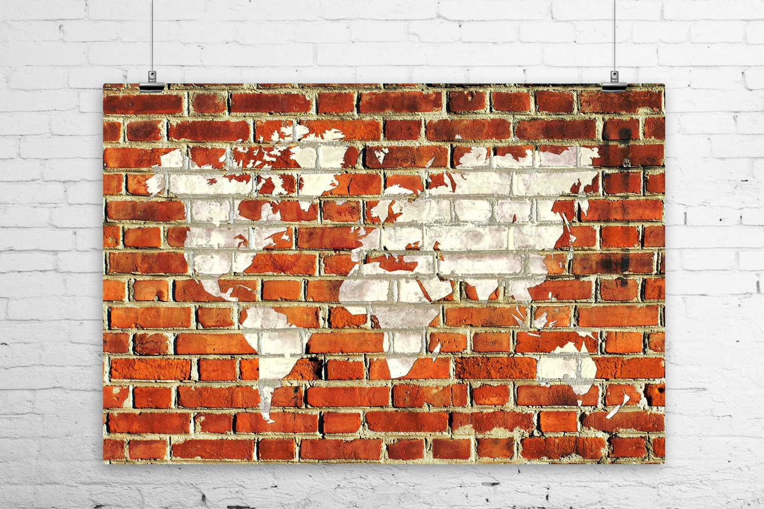 Rustic Brick Wall Decor : World map rustic white painted brick wall art by boofunkprints