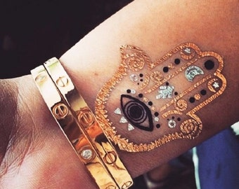 Gold foil tattoo etsy for Gold foil tattoo