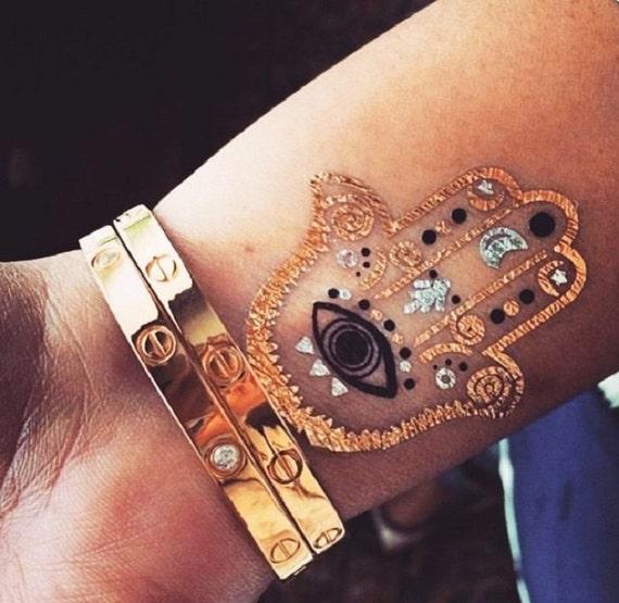 Metallic flash tattoo temporary foil gold silver bohemian for Wild at heart tattoo