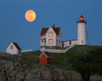 """Maine lighthouse and full moon, lighthouse photo, coastal Maine scenic photo, Nubble lighthouse Title: """"Moonrise at Nubble Lighthouse"""""""