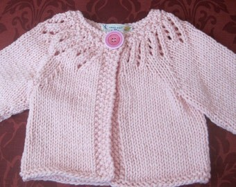 Pink hand knit baby sweater 3-6 months