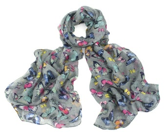 Ladies Grey Multicoloured Butterfly Print Scarf Shawl Stole Wrap Hijab 175cm x 100cm Free UK Shipping