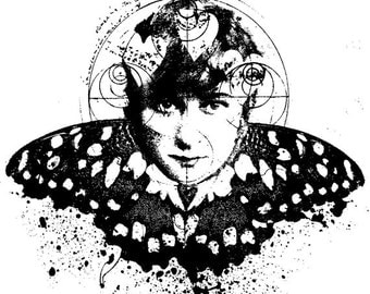 EZ Mounted Rubber Stamp Avant Garde Butterfly Woman Altered Art Craft Scrapbooking Cardmaking Collage Supply.