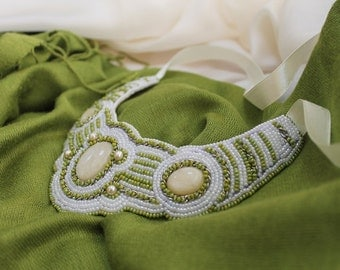 """Beaded elegant necklace """"Tender Beauty"""" / Embroidered necklace/ Spring necklace/ Green and white necklace"""
