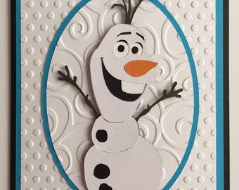 Handmade Embossed Olaf Birthday Card