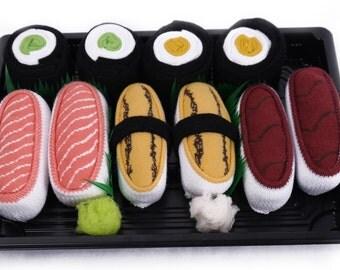 Sushi Socks Box 5 pairs Salmon Tamago Tuna Cucumber Maki Oshinko Maki Cool Gift Present Gadget