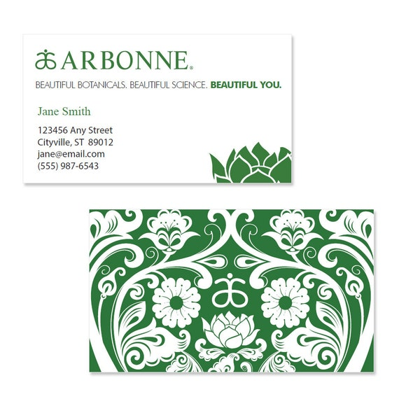 Arbonne Business Card Template GREEN