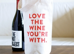 Wine Tote  - Cotton Canvas Wine Tote Bag - Bridesmaid Gift - Love the Wine You're With
