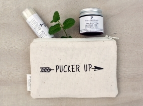Pucker Up Lip Balm and Lip Scrub Gift Set with Canvas Zipper Pouch