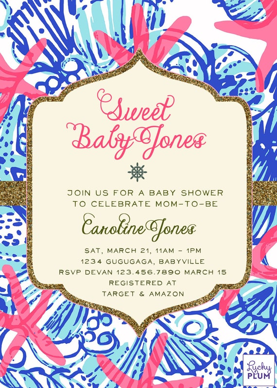 Lilly Pulitzer Inspired Baby Shower Invitation Nautical