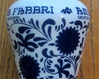 Vintage Amarena Fabbri 1905 S.p.A. Bologna Italy Milk Glass Jar