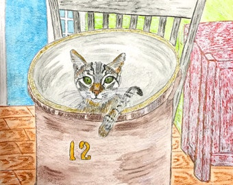 Country Crock Cat Watercolor Print 11 X 15 by Kathy Marrs Chandler