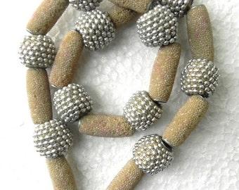 "20"" rare 80's Tribal Indian kashmiri Beads string handmade / beading craft/jewelry craft/craft supplies/jewellery making"