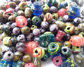 SUPPLIES - beads -  vintage  One Pound African Trade beads/furnace beads mix ,  glass  Beads handmade  Assorted.